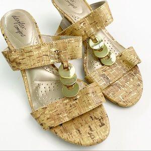 Dexflex Comfort Cork Wedge Sandals 7W Gold Disks